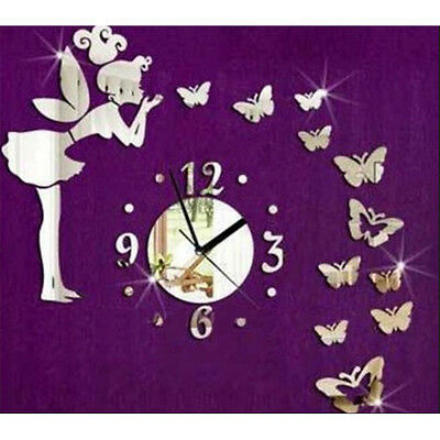 HOT Fairy & Butterfly Acrylic Mirror Wall Clock for decoration Wall Sticker