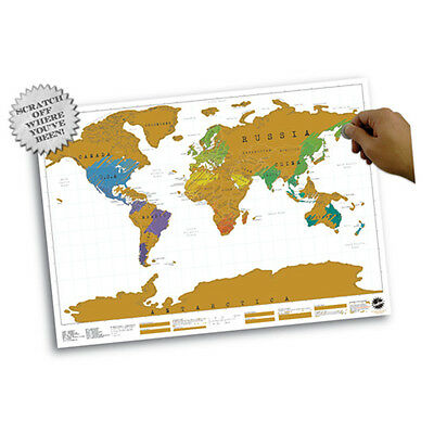 Travel Edition Vacation Log Gift Scratch Off World Map Creative Poster Present
