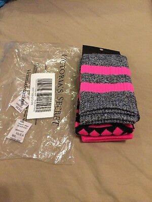 Victoria's Secret New 2 Pair Of Socks Pink Gray Black One Size