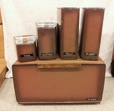 VINTAGE LINCOLN BEAUTYWARE BREAD BOX W/ MATCHING CANISTERS FULL SET - RARE