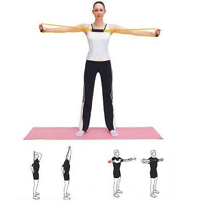 8-Shaped Yoga Pilates Fitness Pull Rope Lines Bands Chest Latex Expander Gym Kit