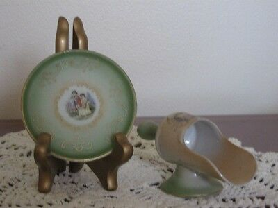 Vintage Hand Painted Footed Porcelain Spice Scoop/Matching Plate Made in Japan