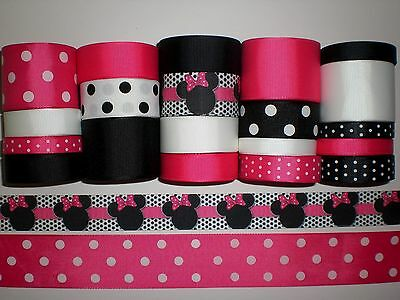 """20 YARDS GROSGRAIN RIBBON LOT """"MINNIE MOUSE """" REF3."""