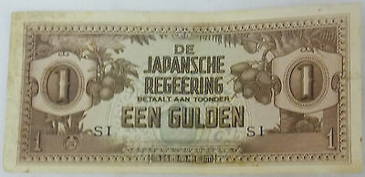 """WWII Japan Occupation Of Netherlands Indies 1 Gulden """"Very Nice Note"""""""