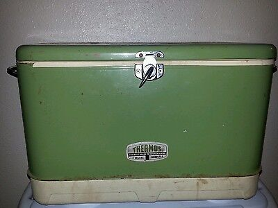Vintage 60's/70's Thermos Brand Cooler/Ice Chest Model 3 trees USA Avacado Rare