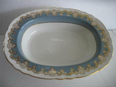 Vintage Aynsley Milford 8391 Bone China Vegetable Bowl Teal Color Gold Scroll