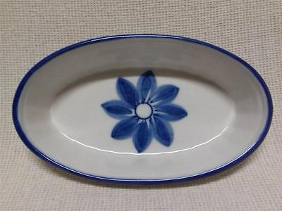 Viana Do Castelo Hand Painted Oval Dish w/ Blue Flower & Trim MADE IN PORTUGAL