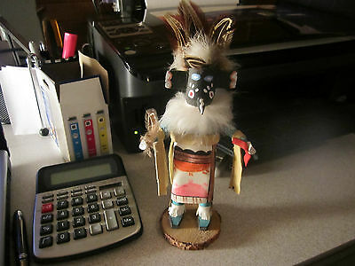 "c1980's 8"" kachina from gallup NM Black Face White Bear Claw signed LJ"