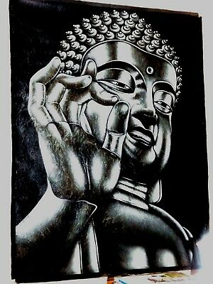 Huge Buddha Portrait Acrylic Black/ Silver Orig Canvas Painting Unframed 198X147