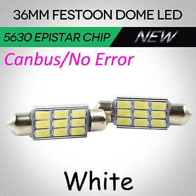 2pcs 12V Car Interior Festoon Reading Dome LED Light 9SMD 5630 Globe 36mm Canbus