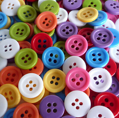 20/50/200pcs Mixed Colors Round Plastic Buttons Lot 11MM Craft Sewing DIY Cards