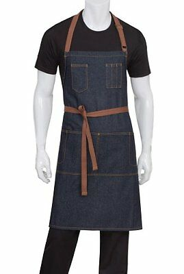 Chef Works AB035-IBL-0 Memphis Bib Apron, Indigo Blue , New, Free Shipping