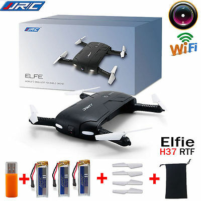 JJRC H37 HD Camera WIFI FPV RC Quadcopter Selfie Foldable Drone Gift + 3 Battery