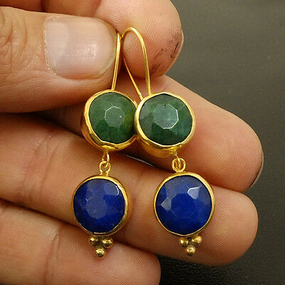 Turkish Ancient Handmade Sapphire & Emerald Dungle Earring 925K Sterling Silver