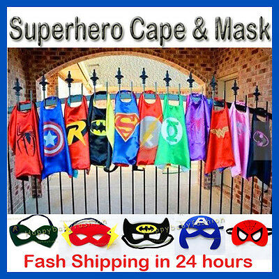 Superhero Super Hero Capes Costume Mask Batman Superman Spiderman Kids Boy Girl