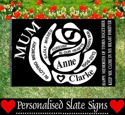 Mum Memorial Graveside Slate Sign Marker Plaque Personalised For Your Loved One