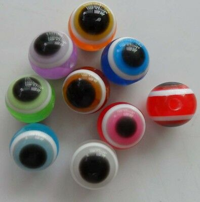 30pcs resin 10mm round beads Mixed color  Cat's eye   F  18