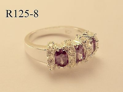 Beautiful Amethyst and White CZ Sterling Silver Gemstone Band Ring Sz9