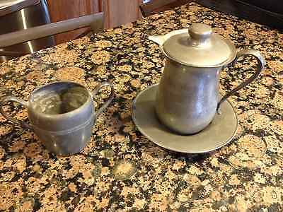 Vintage Pewter Creamer w Plate(Alloy Art) and Sugar Container(Federal)