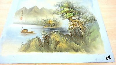 ASIAN HOUSEBOAT FLOATING THROUGH THE MOUNTAIN STREAM SIGNED OIL ON CANVAS
