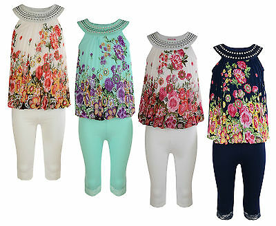 Girls Floral Dress Leggings Set Summer Outfit 2-11 Years #855 Bnwt