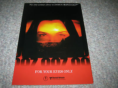 For Your Eyes Only Roger Moore 007 James Bond Japanese Movie Program 1981