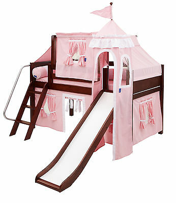 Maxtrix Kids WOW23 Low Loft Panel Bed with Slide and Top Tent