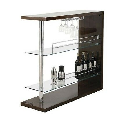 Bar Table with Two Shelves and Wine Holder in Gloss Brown by Coaster 100166
