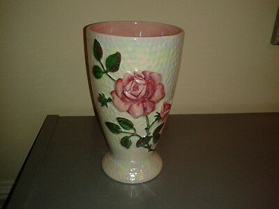 "Vintage Maling Lustre 8"" Vase with raised Pink Rose design -Made in England"