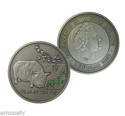 2006 Niue Year of THE PIG Silver Coin $1 Dollar Chinese Calendar + FREE GIFT