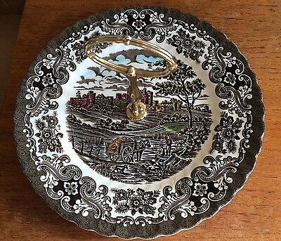 Olde Country Castles British Anchor Vtg. Brown Petit 4 Sandwich Plate W/ Handle