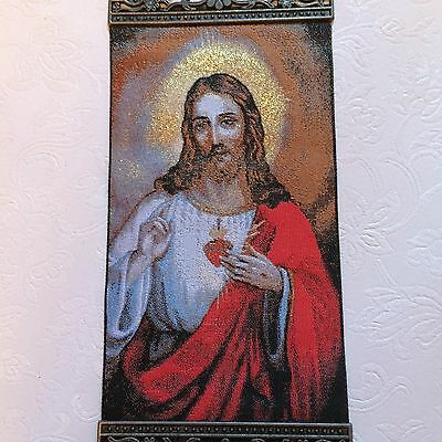 10'' Woven Wall Hanging Tapestry Jesus Icon Crucifix Cross ChristmasGiftUSSELLER