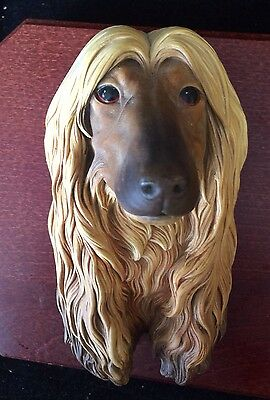 1957 Vintage Afghan Dog Bossons Chalkware Head  Character Wall Hanging