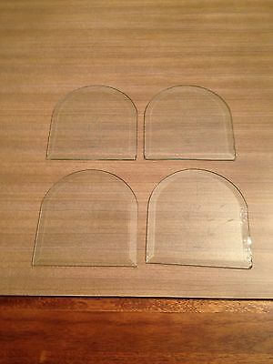 Set Of 4 Matching Clear Beveled Etched Arched Glass Panels For Light Shades