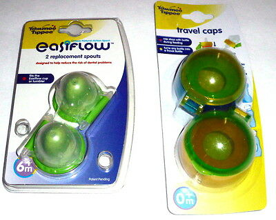 Tommee Tippee easiflow replacement soft spout nipples 2pk.OR Travel caps 2pk.NEW