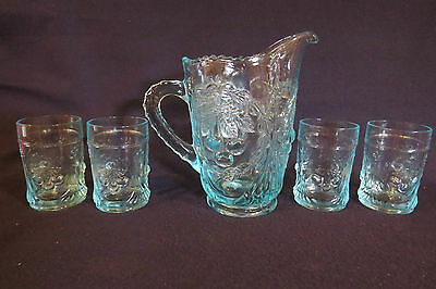 L G Wright Blue Water Pitcher and 4 Tumblers With Cherry Pattern