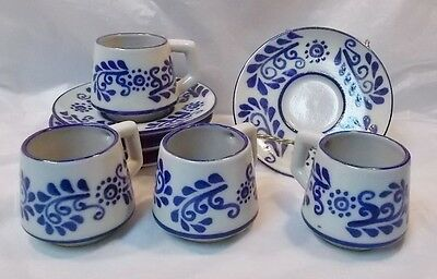 Gorgeous Set of 4 Cups & Saucers-Mexican Pottery / Stoneware-Blue & White-Signed