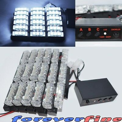 White 54 New LED Emergency Strobe Flash Lights for Vehicle Front Grille/Deck