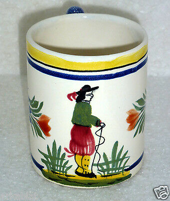 Vintage French Art Pottery faience mug by Henriot Quimper France 394 bis