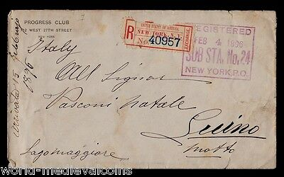 Vintage and Rare Cover Registered New York 1896 To Luino Italy