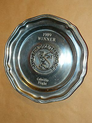 WILTON Pewter California Golf Association1989 Tournament Trophy Plate Award Dish