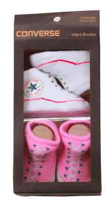 Converse Baby All Star Knit Booties 2 Pack Pink/White