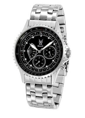 Konigswerk Mens Silver Metal Band Watch Black Dial Diamond Accent Day DATE Dials