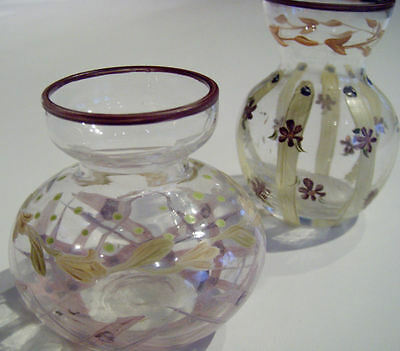 VINTAGE HAND PAINTED HAND BLOWN MINIATURE BUD VASES... A SWEET GIFT! 2 PCS.