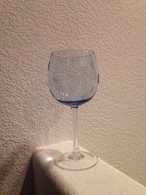 "WATERFORD MARQUIS POLKA DOT BLUE WINE GLASS, 8 1/2"" TALL X 4"" Crystal"