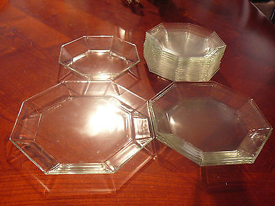 17 pc ARCOROC FRANCE OCTIME CLEAR GLASS DINNERWARE-SANDWICH DINNER LUNCH PLATES