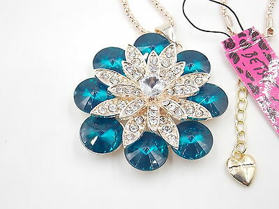 New Betsey Johnson crystal necklace navy blue blooming flower necklace # N100