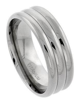 Mens Comfort Fit Titanium Wedding Band Ring 9mm Triple Dome Design Size 10 - C22