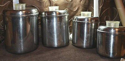 1950'S REVERE WARE 4 PC STAINLESS STEEL CANISTER SET-LOOK!!!!!!