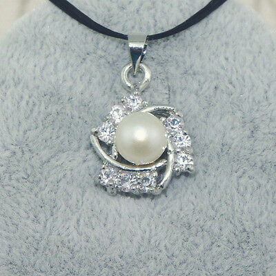Clear Crystal Triangle Embrace 7mm Natural White Pearl Silver Charms Pendant 1pc